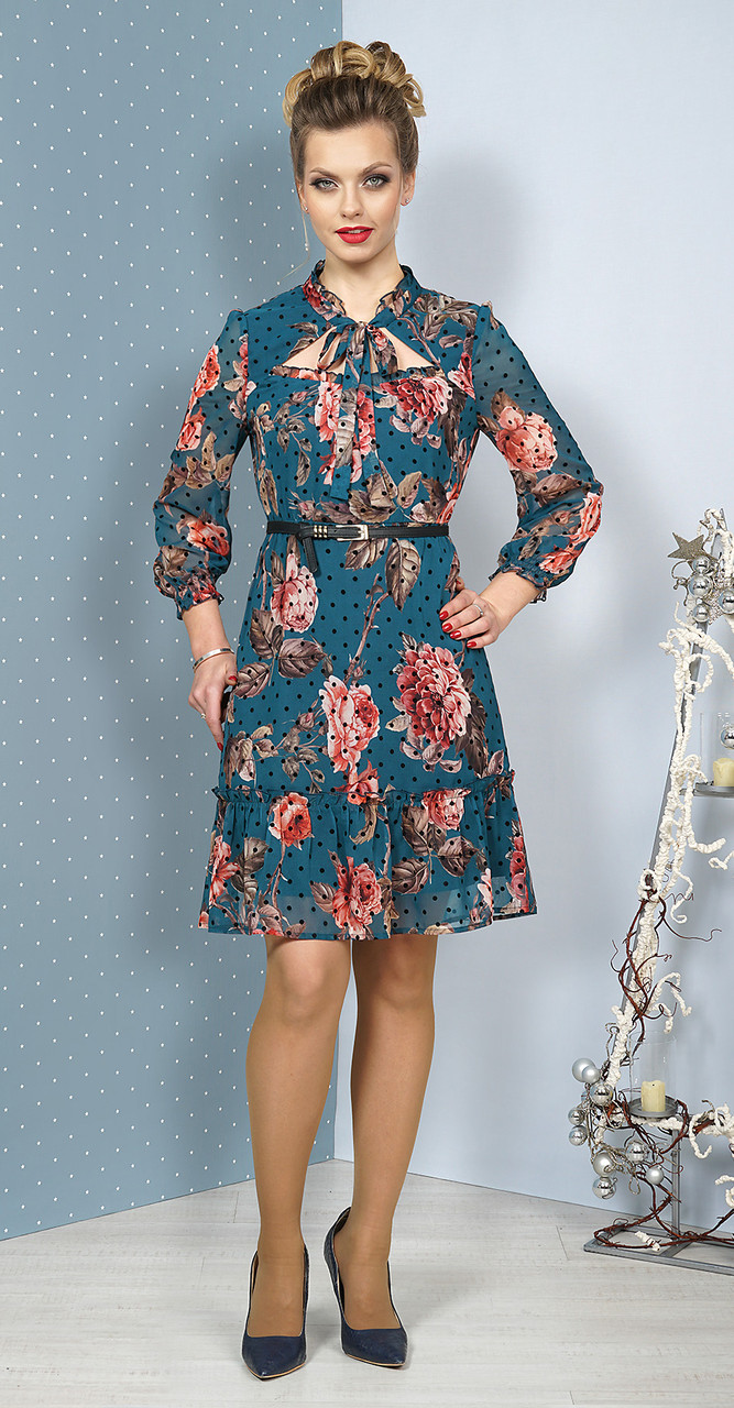 Платье Alani-1084, оттенки бирюзового, 44