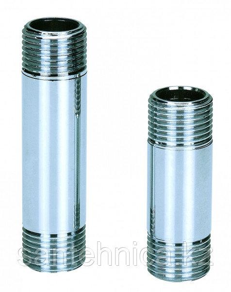 """Сгон-бочонок латунь никель Ду 15 (1/2"""") L=100 мм"""