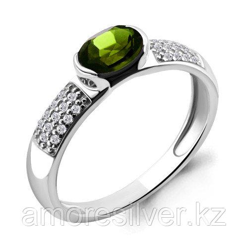 Серебряное кольцо с натуральным хризолитом и фианитом  Aquamarine 6519407А.5 размеры - 17