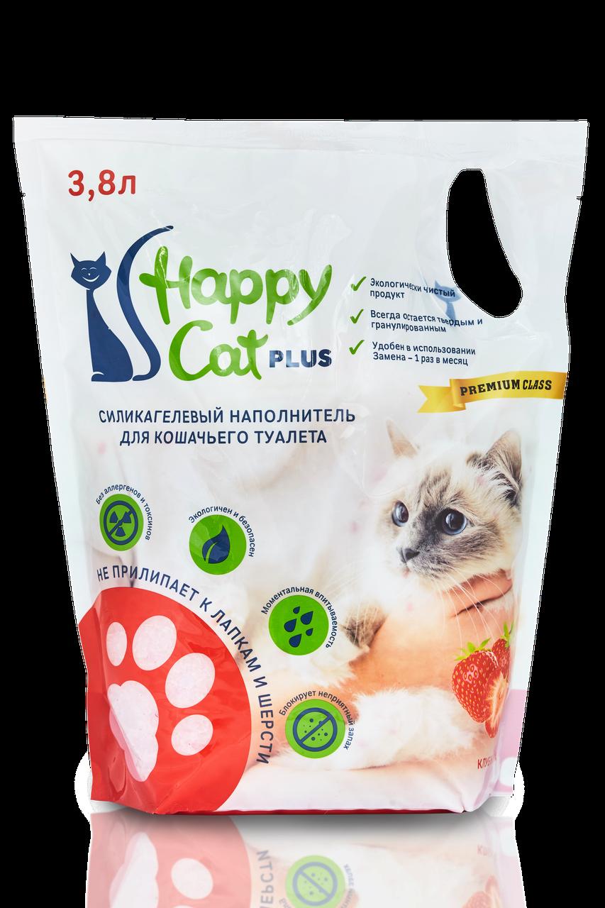 """Силикагелевый наполнитель """"Happy Cat"""" с Клубникой"""