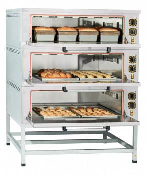 Шкаф пекарский подовый ЭШП-3 электрический, 3 оцинк. камеры 1035x800x280(250) мм, пароувлажнение, нерж. ТЭН-ы,