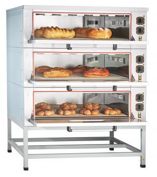 Шкаф пекарский подовый ЭШП-3-01КП электрический, 3 нерж. камеры 1035x800x263(233) мм, пароувлажнение, нерж. ТЭ