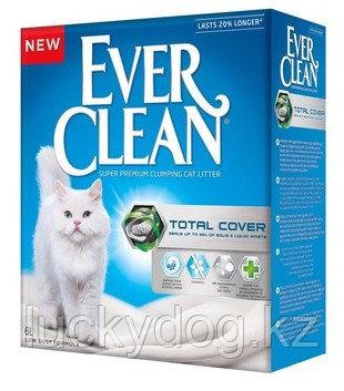 Ever Clean 10л, Total Cover с микрогранулами двойного действия комкующийся наполнитель для кошачьего туалета
