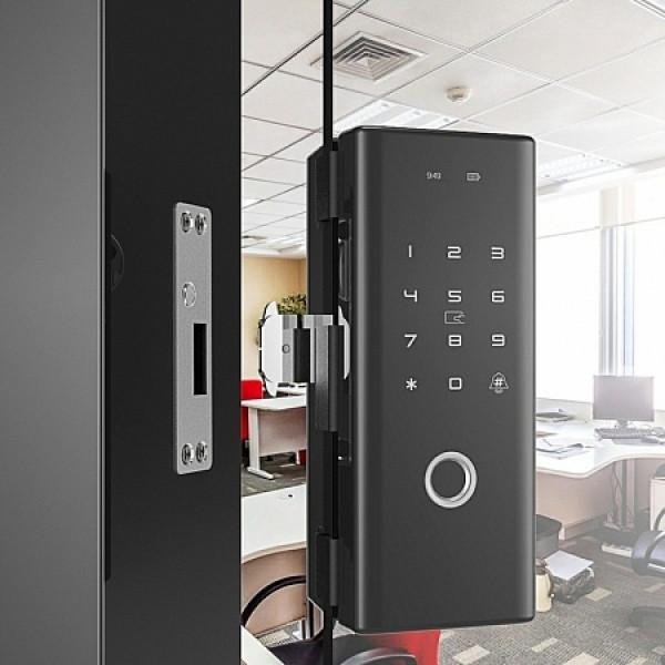 Биометрический кодовый замок для установки на стеклянные двери Selock Glass