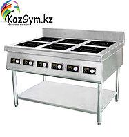 Плита индукционная HL-J01-6  (полностью нерж) (1200*850*750 мм, 6 конф., 13,2 кВт, 380В)