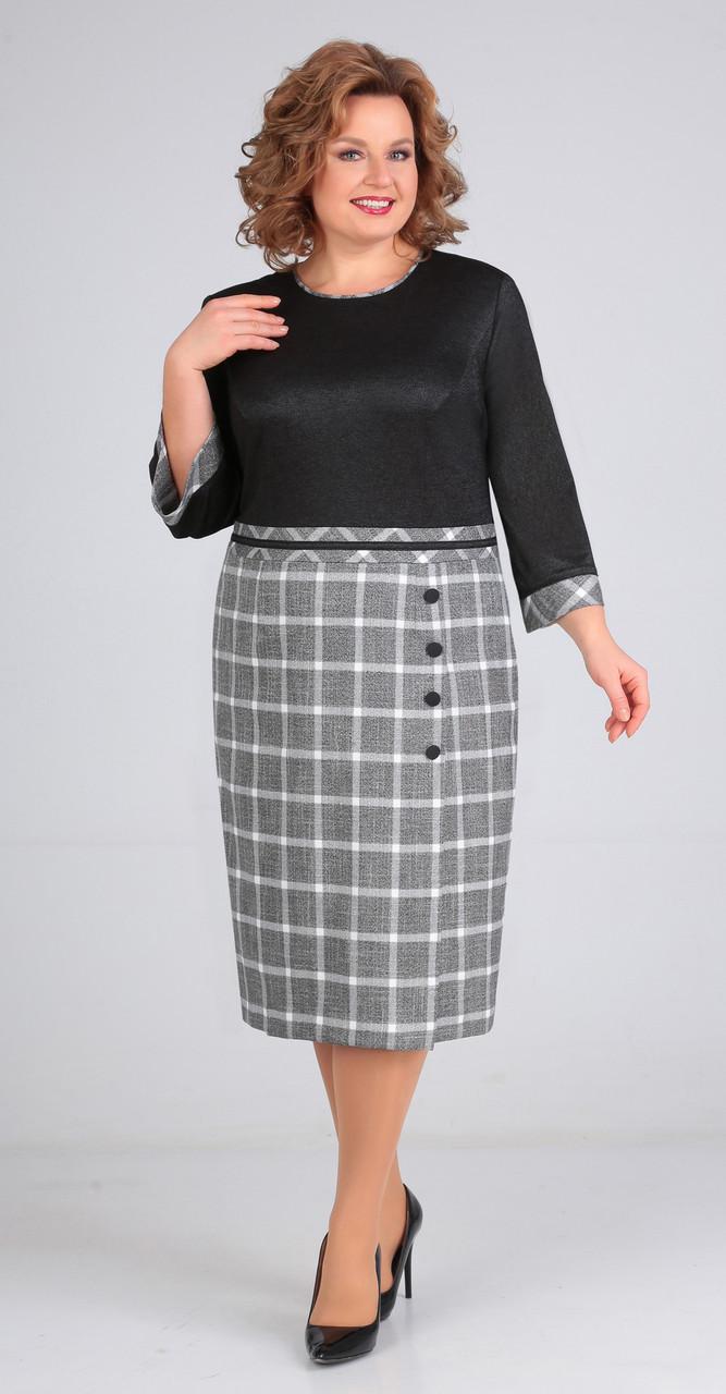 Платье Elga-643, черный-клетка, 54