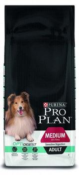 Pro Plan medium Adult Sensitive Digestion, корм для взрослых собак с ягненком, уп.14кг.