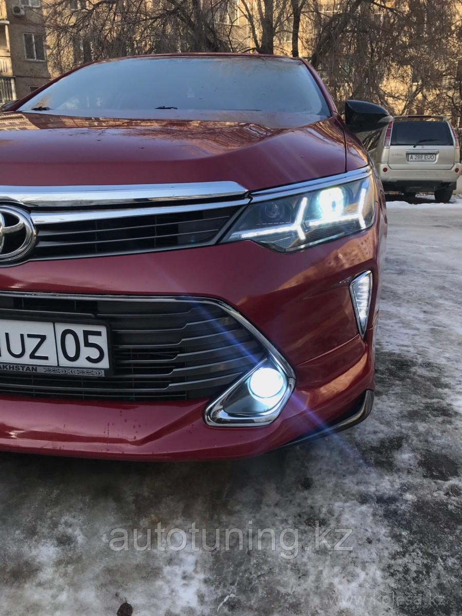 Тюнинг оптика (передние фары) на Toyota Camry 55 2014-2018 Lambo Style