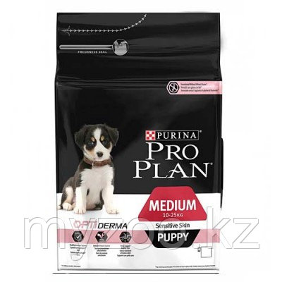 Pro Plan Puppy Sensitive Medium, Про План корм для щенков с чувствительной кожей, лосось/рис, уп. 12кг