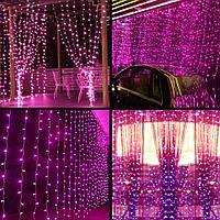 Светодиодный уличный занавес Дождь (Плей Лайт) 3*3 м розовый/белый