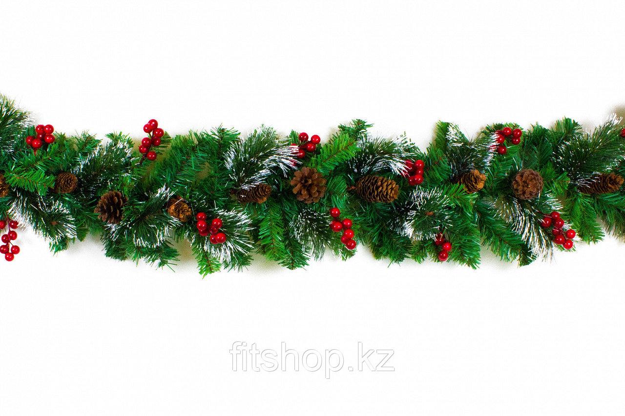 Хвойная гирлянда заснеженная  с шишками ,ягодами  и снегом  2.5 м