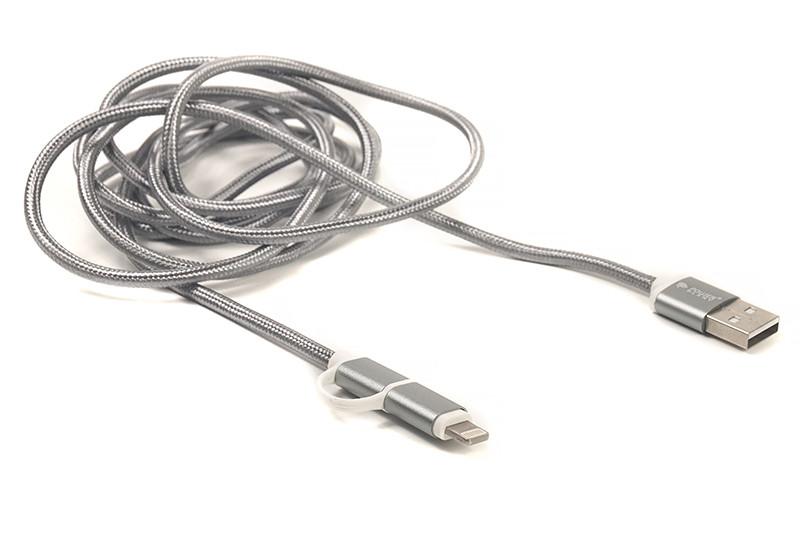 Kабель PowerPlant Quick Charge 2A 2-в-1 cotton USB 2.0 AM – Lightning/Micro 2мgrey