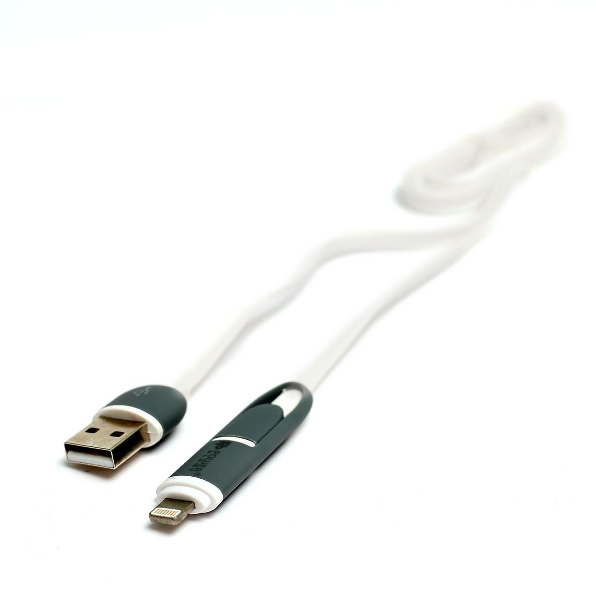 Kабель PowerPlant Quick Charge 2A 2-в-1 flat USB 2.0 AM – Lightning/Micro 1мwhite