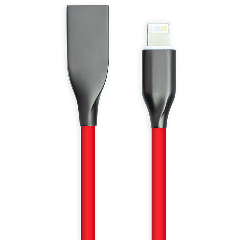 Кабель PowerPlant USB - Lightning, 1м, силикон, красный