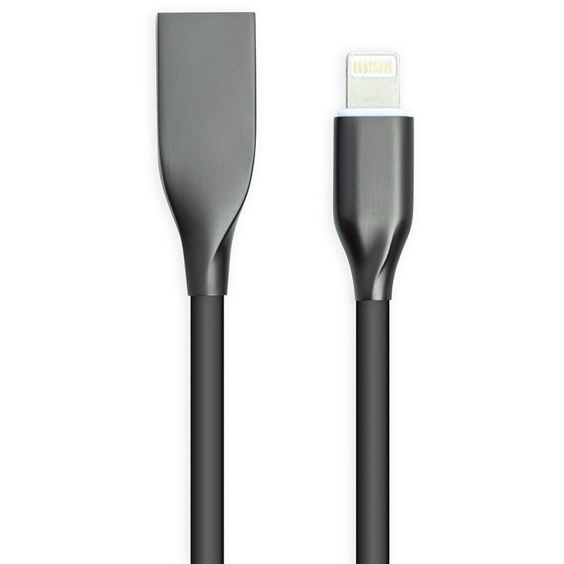 Кабель PowerPlant USB - Lightning, 2м, силикон, черный