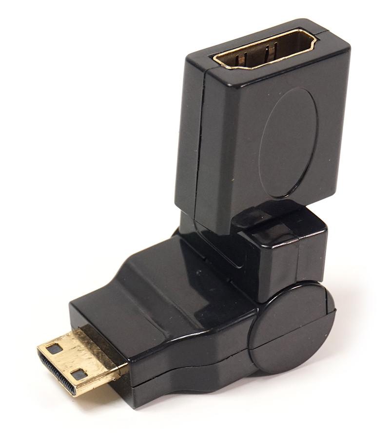 Переходник PowerPlant mini HDMI AM - HDMI AF, 360 градусов