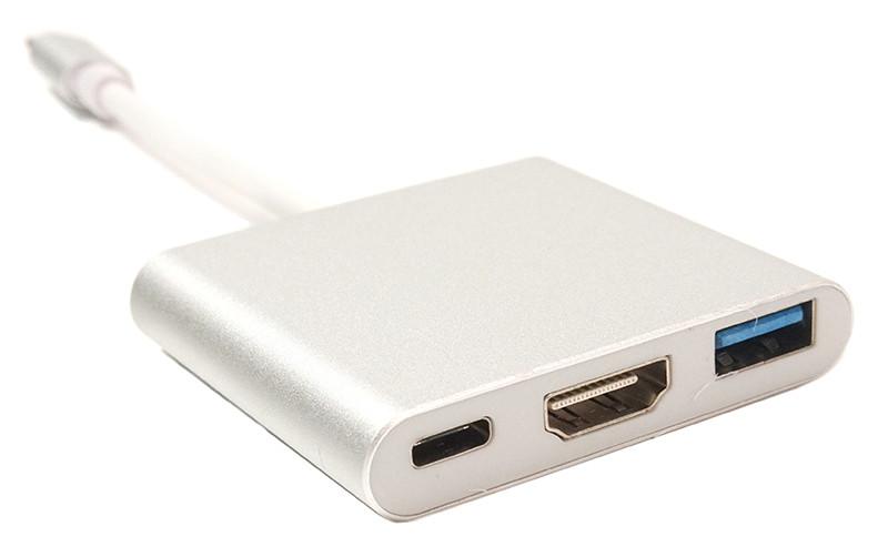 Кабель-переходник PowerPlant USB C-Type - HDMI/USB Multiport Adapter для MacBook 12, 0.15m