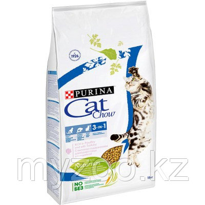 Cat Chow Feline 3 in 1, Кэт Чау корм для кошек с формулой тройного действия, уп.400гр.