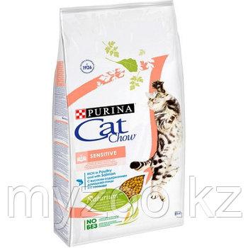 Cat Chow Sensitive, Кэт Чау корм для кошек с чувствительным пищеварением, уп.1,5 кг