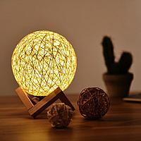 Светильник настольный - плетеный шар, желтый
