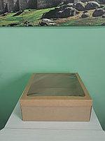 Коробка 40*40*15см крышка с окном + дно крафт