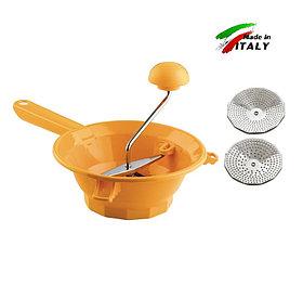 Ручное сито-машинка для протирки фруктов, овощей, ягод OMAC 381 TILLY 2 диаметр 20 см (2 протирочных диска)