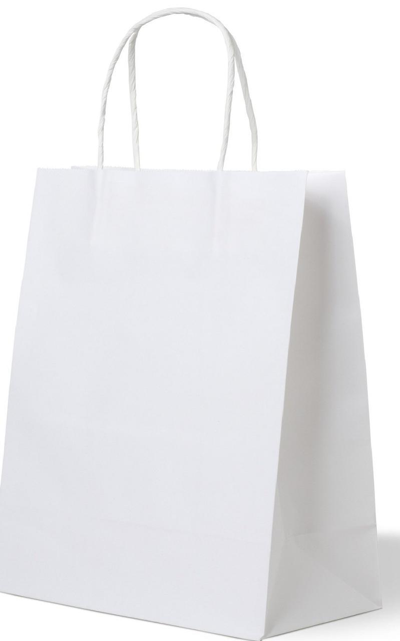 Пакеты (260+140)х350мм белый крафт 80г/м2, с кручеными ручками, 250 шт