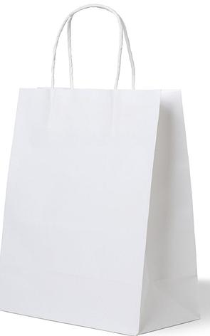 Пакеты (320+200)х370мм белый крафт 80г/м2, с кручеными ручками, 250 шт, фото 2