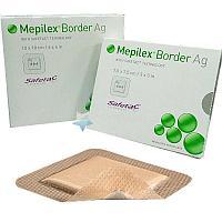 MEPILEX BORDER Ag (Мепилекс) - 7,5cm*7,5cm - губчатая повязка «все-в-одном» с антибактериальным эффектом.