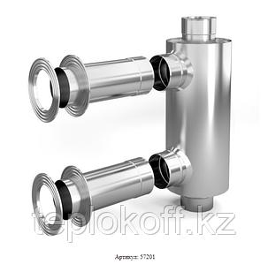 Дымоход-конвектор-1 ТМФ для смежного помещения нерж. 1,0мм/0,5мм ф115мм L=0.65м