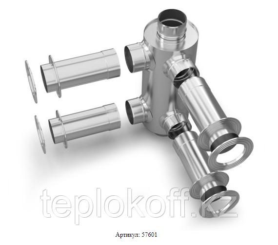 Дымоход-конвектор-2 ТМФ для 2 смежных помещений нерж. 1,0мм/0,5мм ф115мм L=0.65м