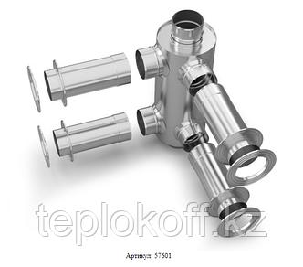 Дымоход-конвектор-2 ТМФ для 2 смежных помещений нерж. 1,0мм/0,5мм ф115мм L=1,0м