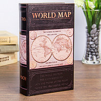 Книга сейф дерево Карта мира кожзам
