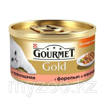 Gourmet Gold, Гурмэ Голд кусочки с форелью и овощами, баночка 85 гр.