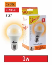 Лампа светодиодная 9Вт, А60, Е27, 2700-4000-6500К