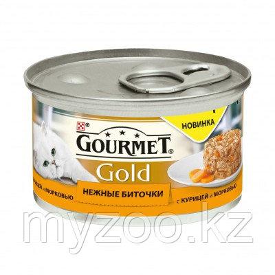 Gourmet Gold, Гурмэ Голд нежные биточки, курица с морковью, баночка 85 гр.