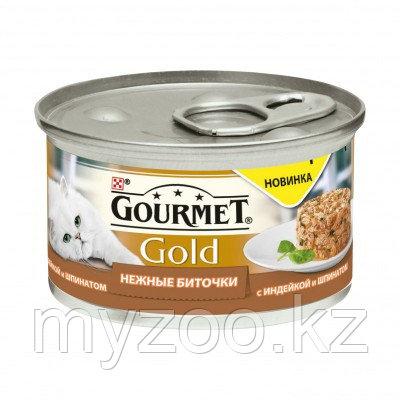 Gourmet Gold, Гурмэ Голд нежные биточки, индейка со шпинатом, баночка 85 гр.