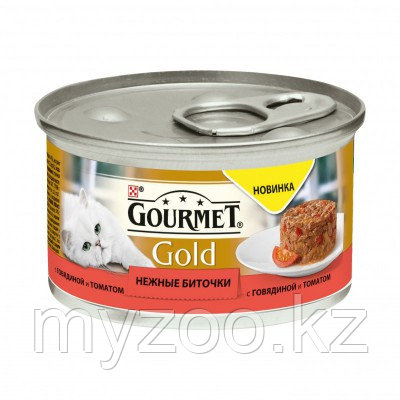 Gourmet Gold, Гурмэ Голд нежные биточки, говядина с томатами, баночка 85 гр.