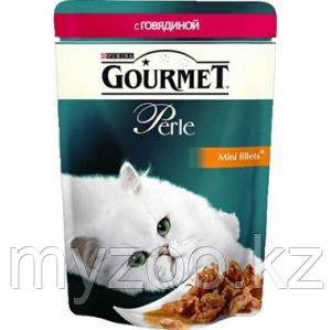 Gourmet Perle Mini Fillets Beef in Sauce, Гурмэ Перл нежные кусочки с говядиной в соусе, пауч 85 гр.