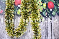 Мишура зеленая с золотыми и белыми кончиками новогодний декор длиной 160х9см
