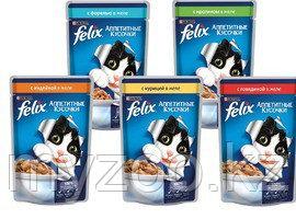 Felix, Феликс кусочки с говядиной в желе для кошек, уп. 24*пауч 85гр