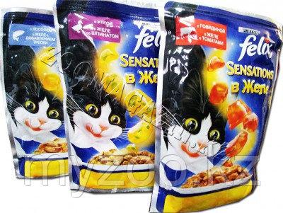 Felix Sensation, Феликс Сенсейшн кусочки с лососем и треской в желе для кошек, уп. 24*пауч 85гр