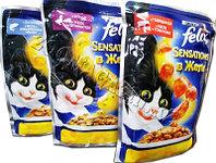 Felix Sensation, Феликс Сенсейшн кусочки с говядиной и томатом в желе для кошек, уп. 24*пауч 85гр