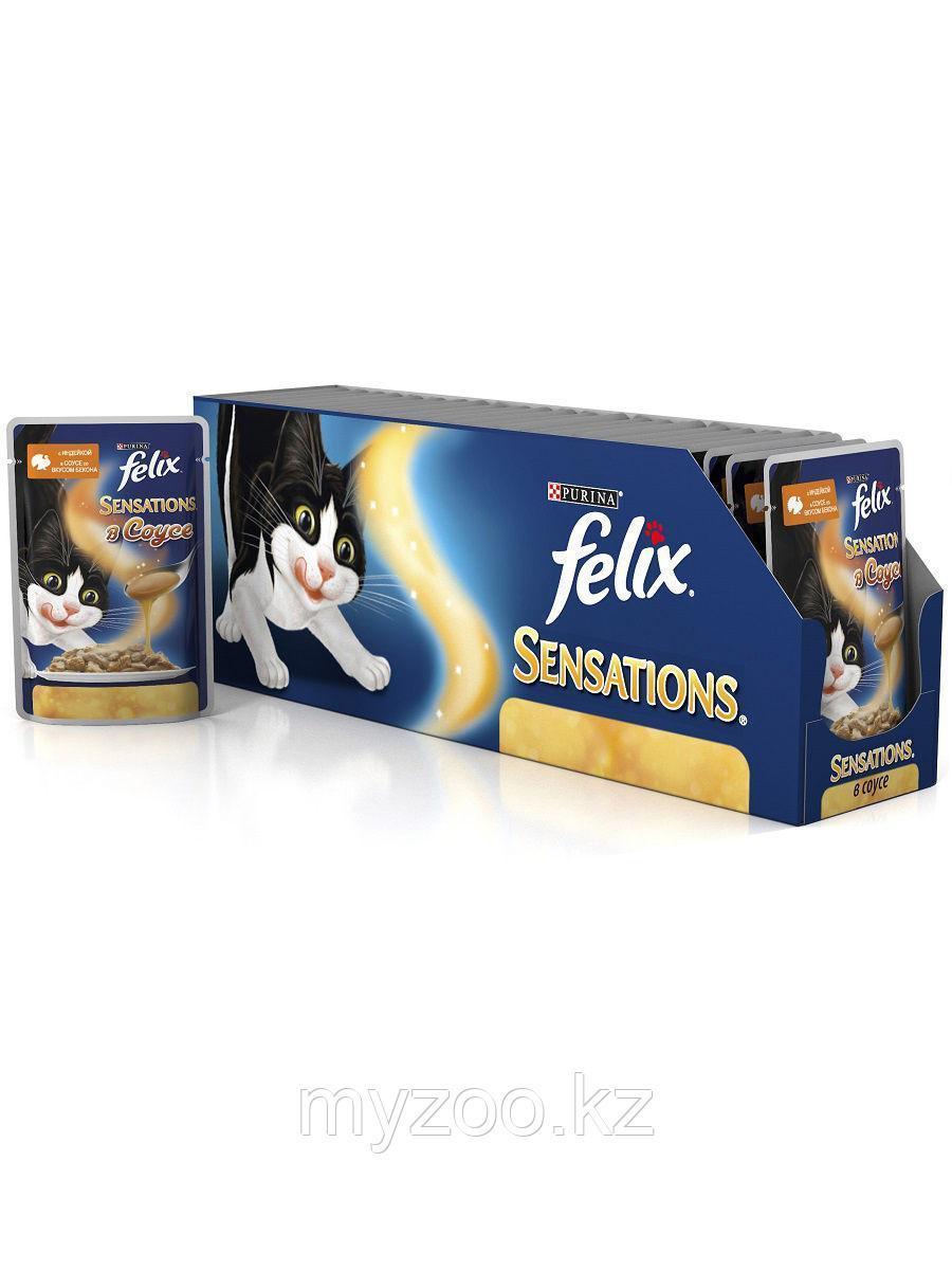 Felix Sensation, Феликс Сенсейшн кусочки индейки с беконом в соусе для кошек, уп. 24*пауч 85гр
