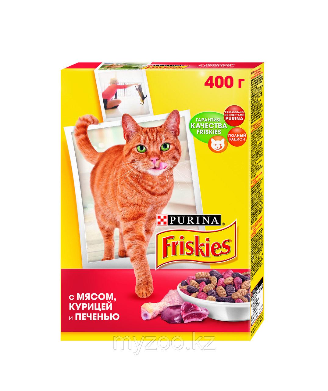 Friskies, Фрискис сухой корм для кошек, мясо, печень, овощи, уп.400гр.