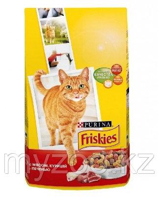 Friskies, Фрискис сухой корм для кошек, мясное ассорти: мясо, курица, печень, уп.400гр.