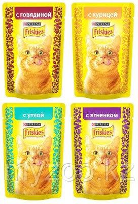 Friskies, Фрискис, влажный корм для кошек, кусочки с говядиной в подливе, уп.24*пауч.85гр.