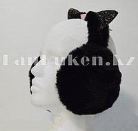 Наушники меховые Кошка, складные с блестящими ушками черные