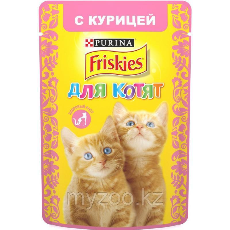 Friskies, Фрискис, влажный корм для котят, кусочки с курицей в подливе, уп.24*пауч.85гр.