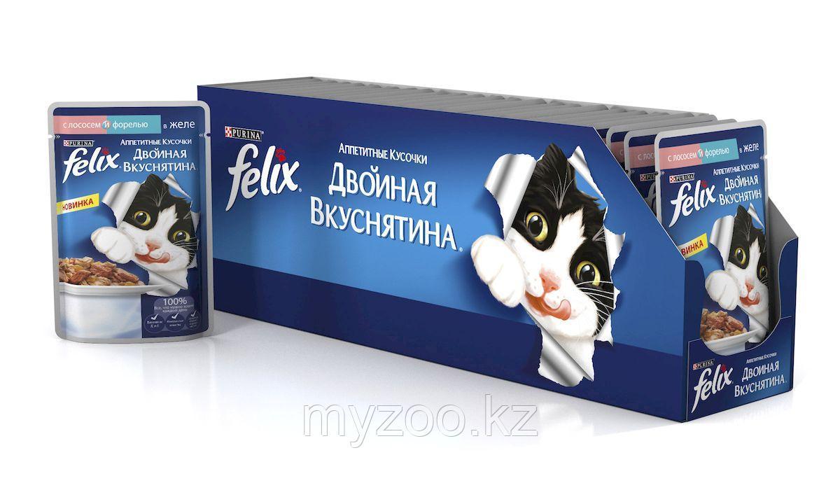 Felix, Феликс  форель и лосось в желе двойное удовольствие, уп. 24*пауч 85гр